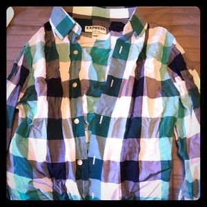 Green plaid button up from express